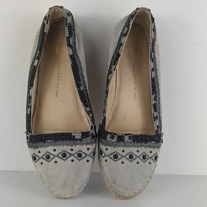 Beaded Leather wicker moccasin slip on flats shoes